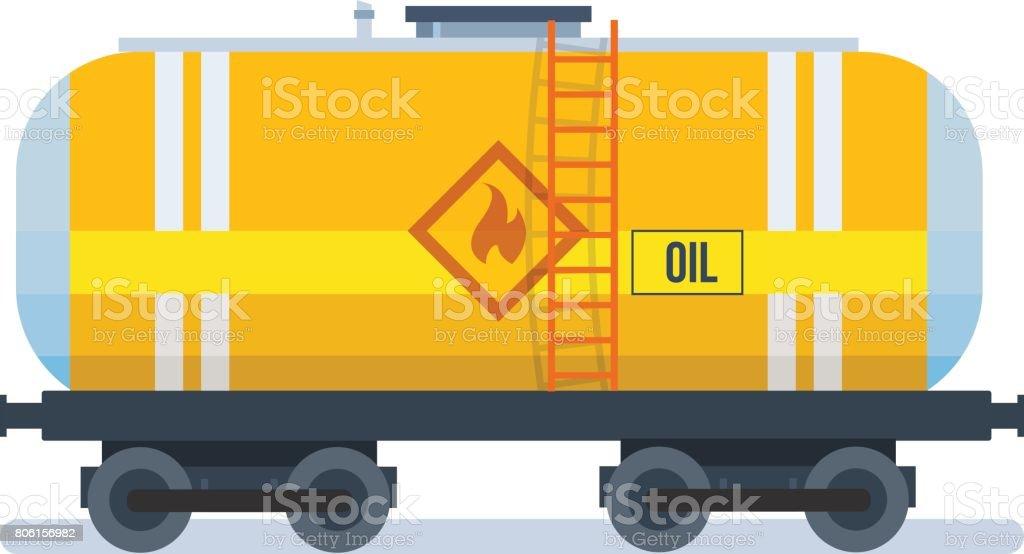 Modern freight traffic. Transportation of oil in the wagon vector art illustration