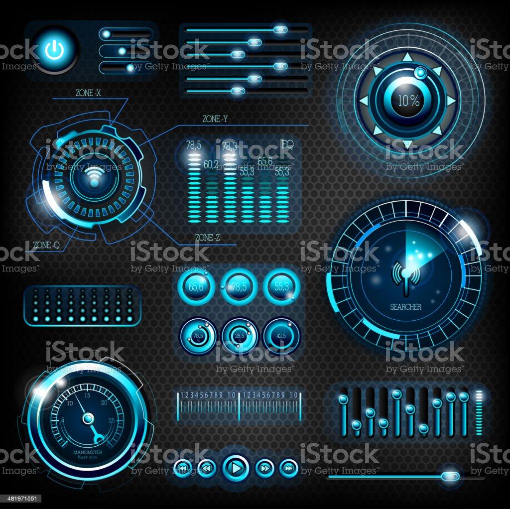Modern futuristic interfaces vector art illustration