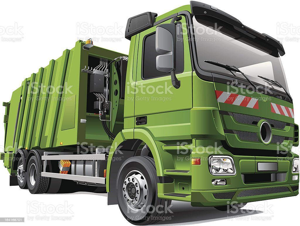 Modern Garbage Truck vector art illustration