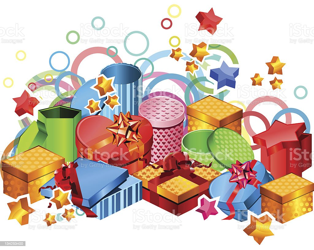 Modern gift boxes royalty-free stock vector art