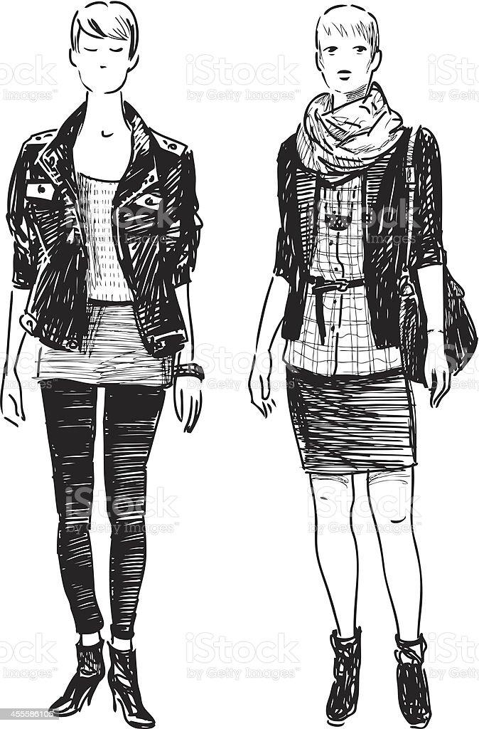 modern girls royalty-free stock vector art