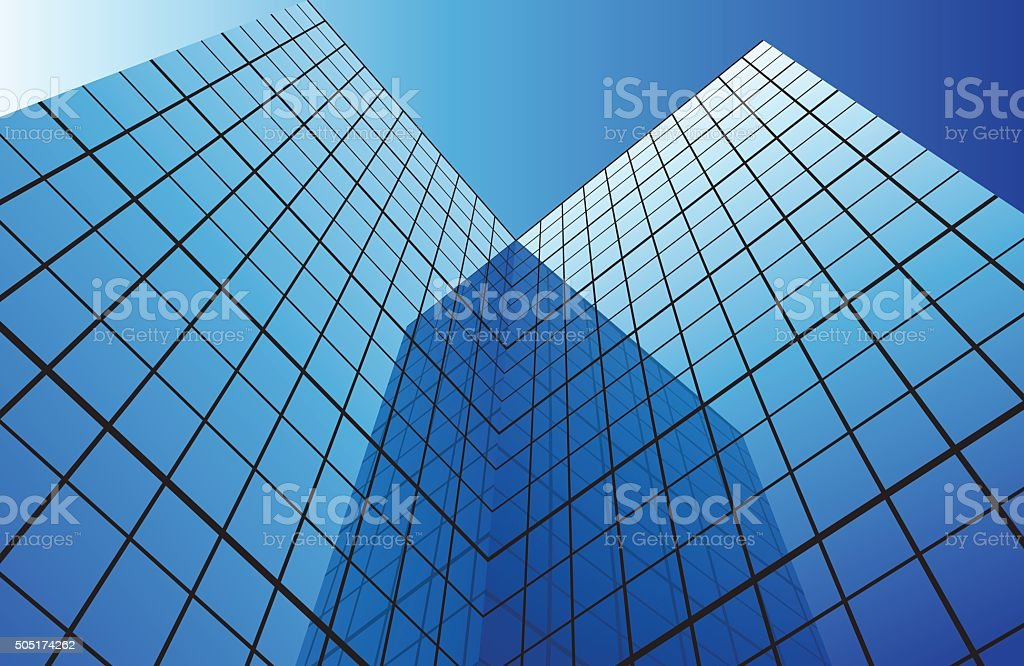 Modern glass building vector art illustration