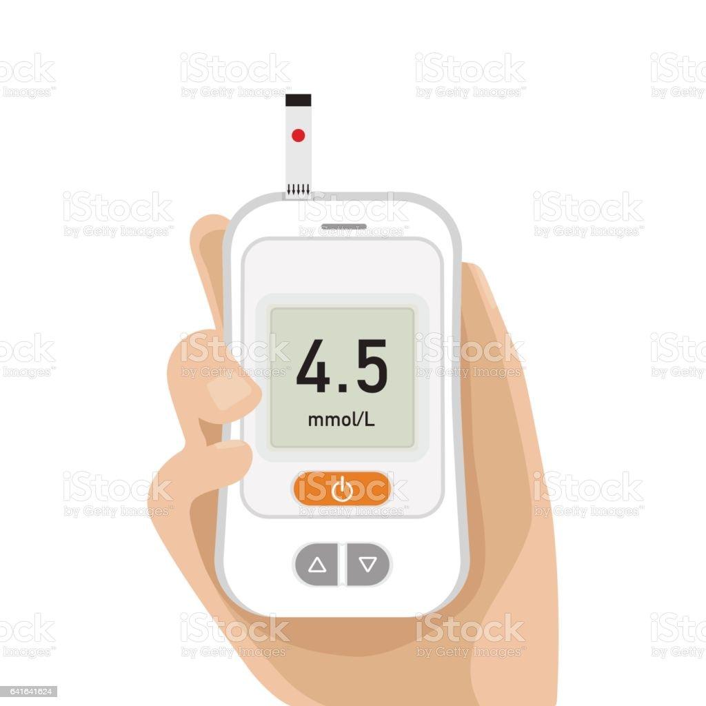 Modern Glucose meter vector art illustration
