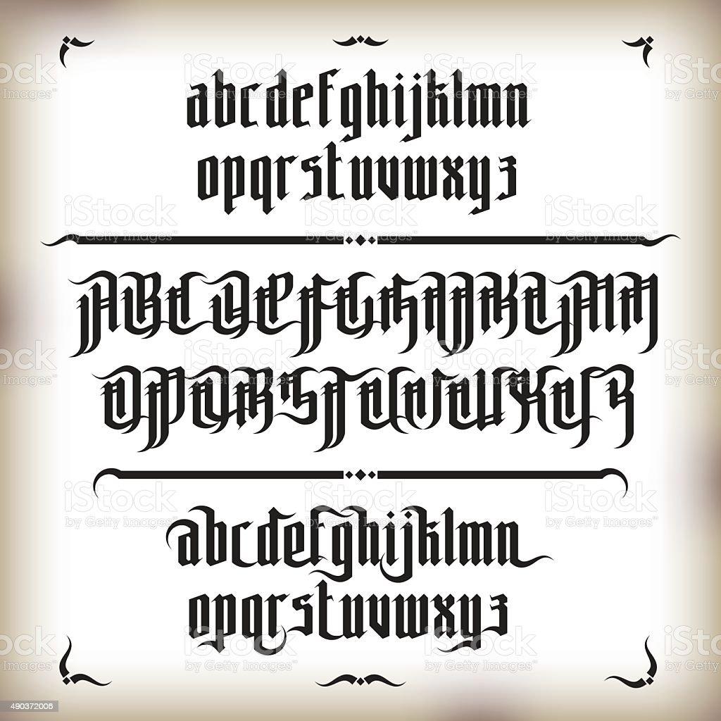 Modern Gothic Font vector art illustration