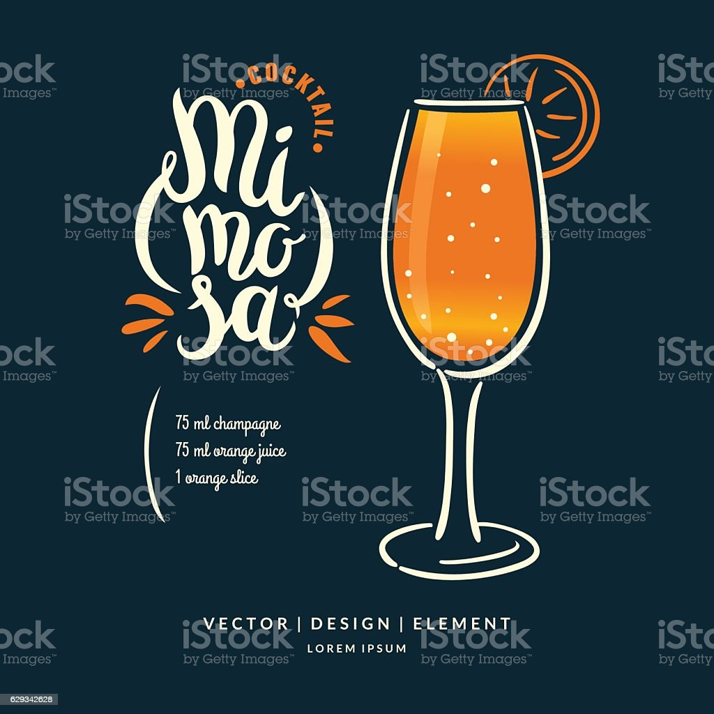 Modern hand drawn lettering label for cocktail. vector art illustration