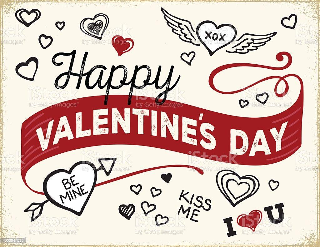 Modern Hand lettered Valentine's Day Card vector art illustration