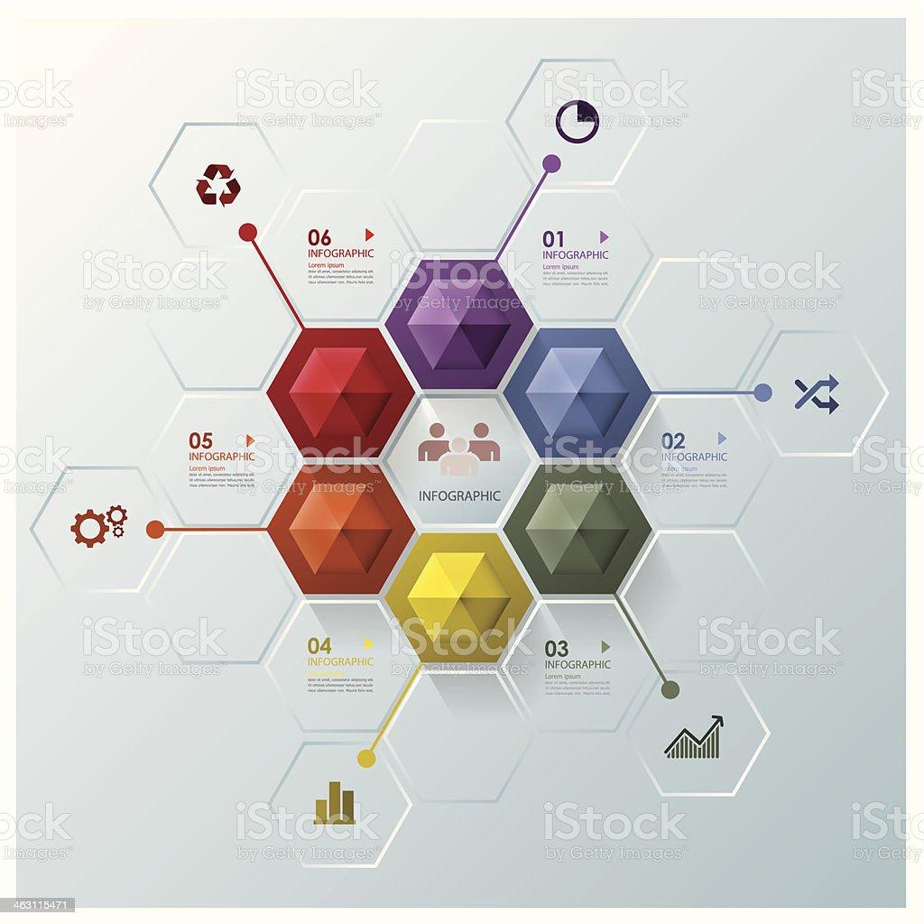 Modern Hexagon Business Infographic Design Template vector art illustration