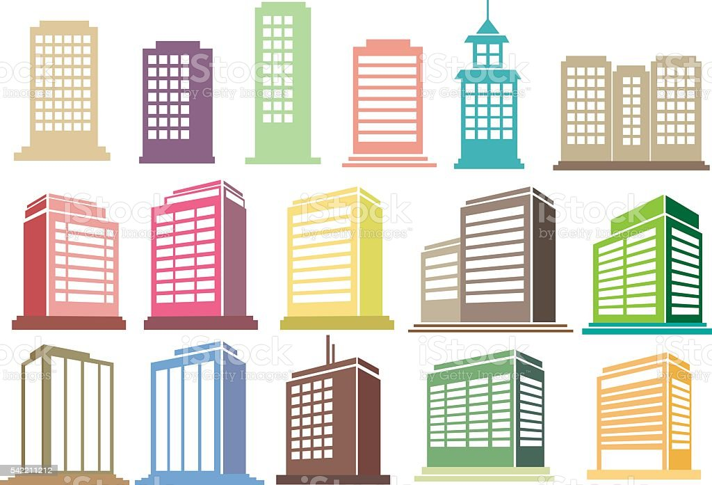 Modern High Rise Buildings Vector Icon Set vector art illustration