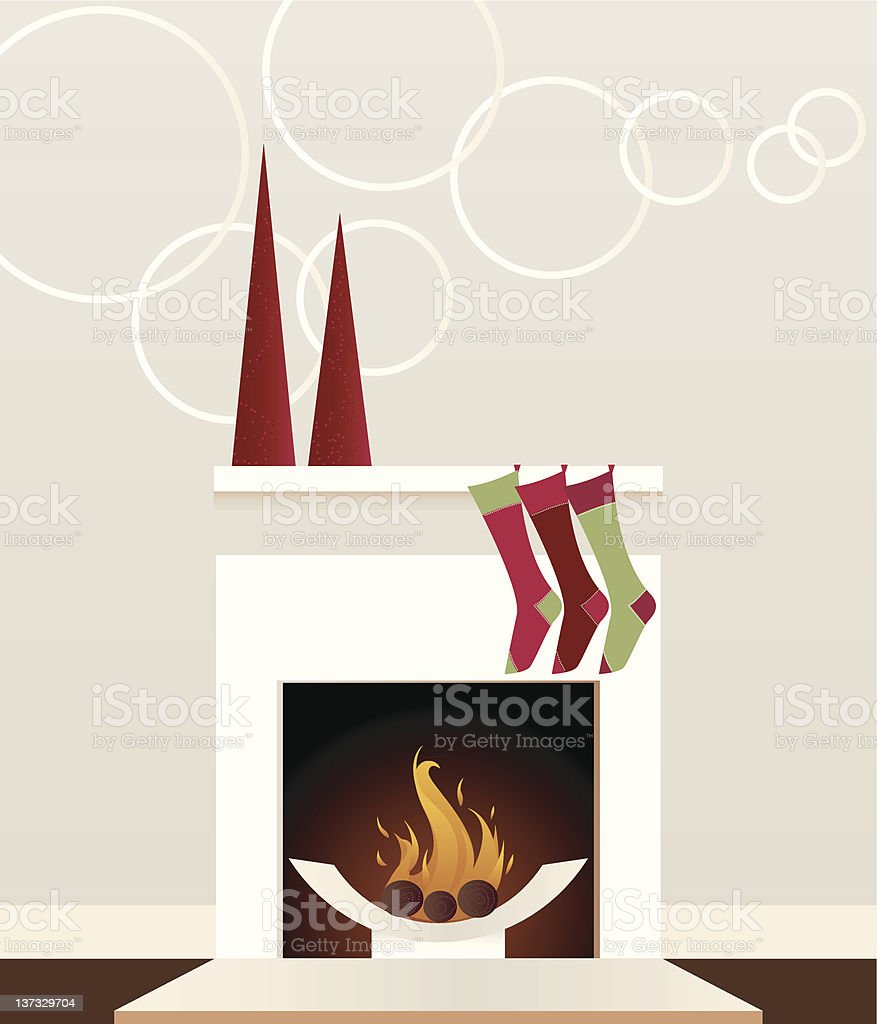 Modern Holiday Fireplace vector art illustration