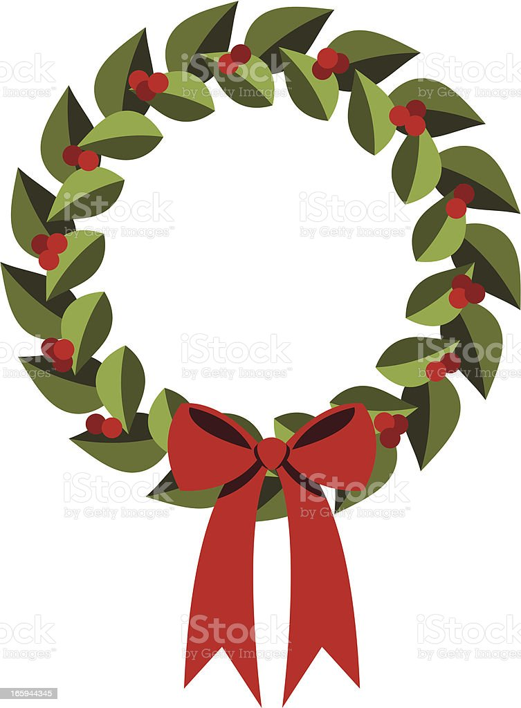 Modern Holly Wreath vector art illustration