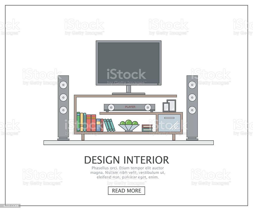 Modern home cinema in living room. vector art illustration