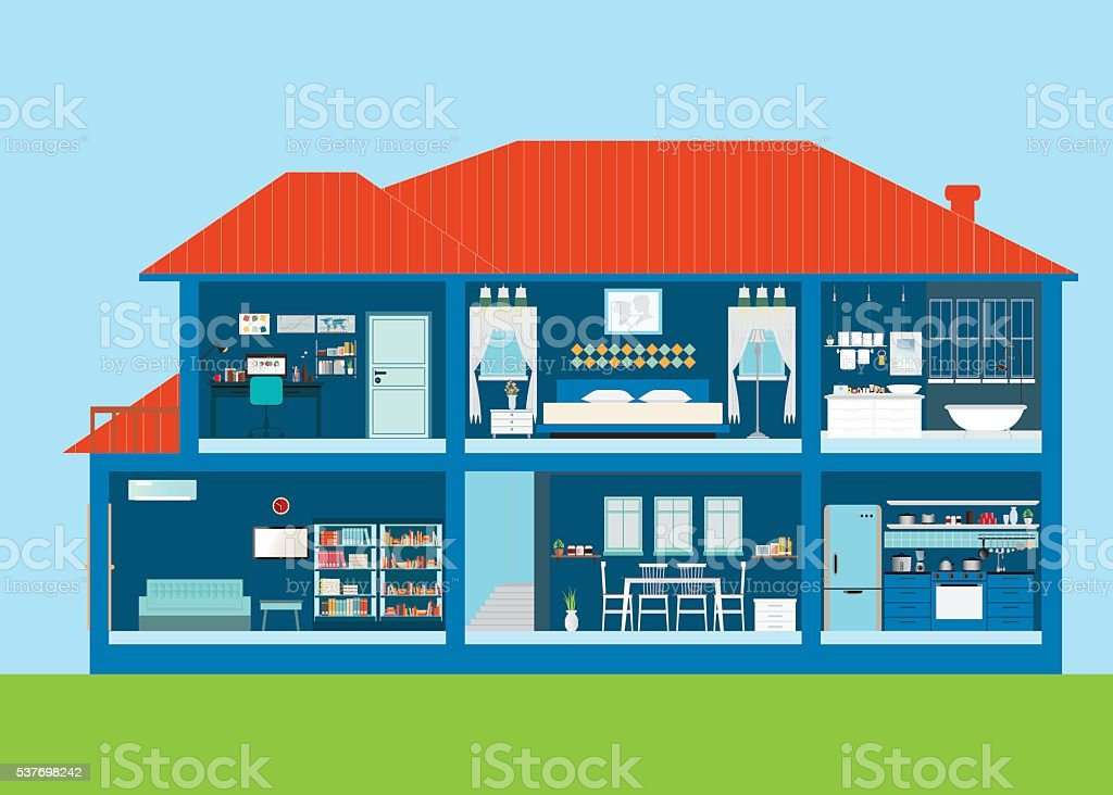 Modern home design exterior and interior room with furniture. vector art illustration