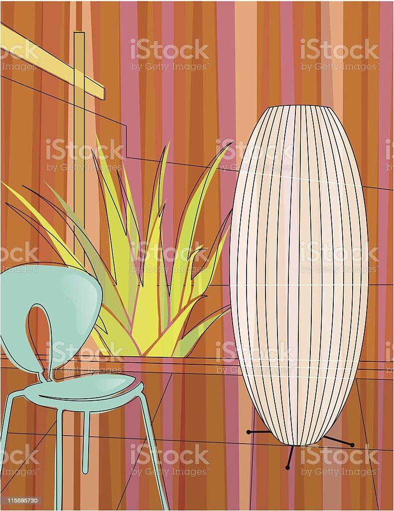 Modern home indoor garden vector art illustration