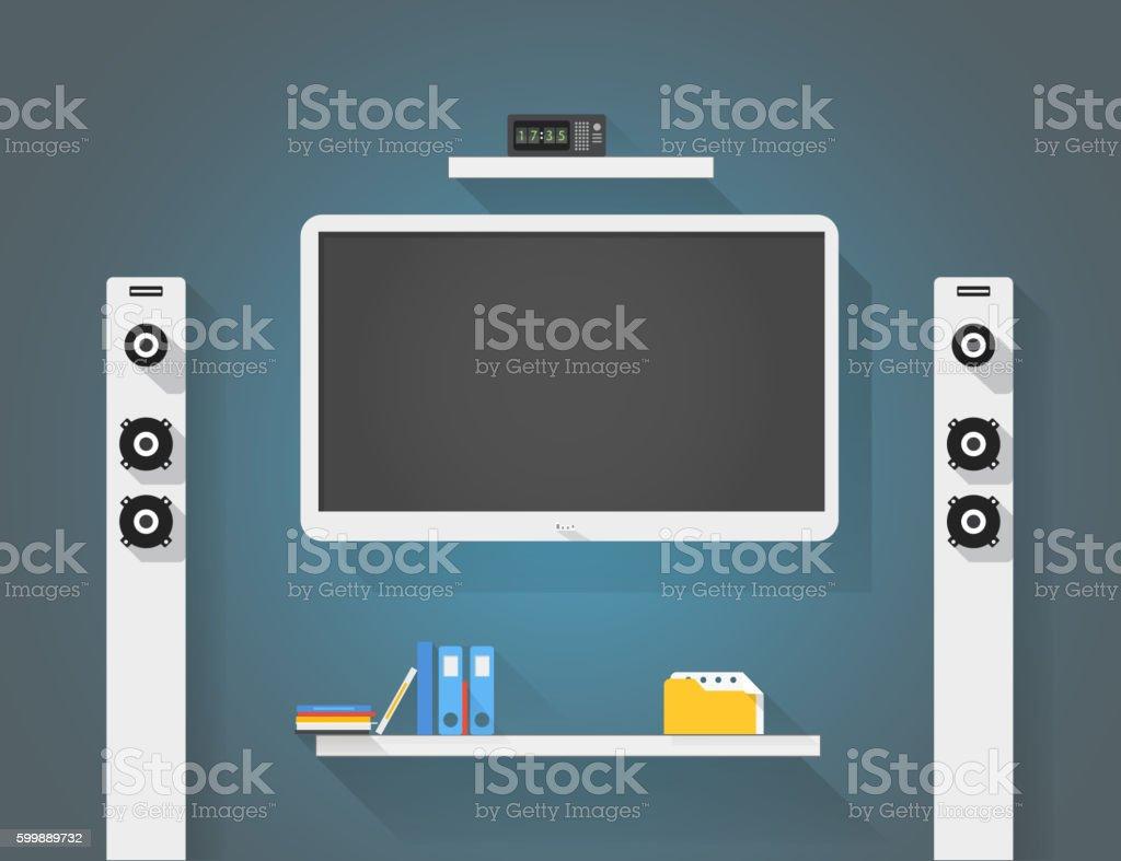 Modern home media entertainment system illustration vector art illustration