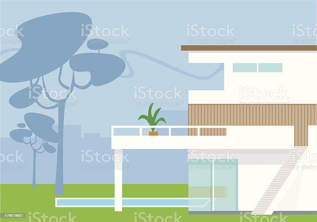 Modern home vector art illustration