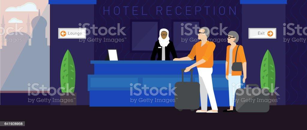 Modern hotel scene vector art illustration