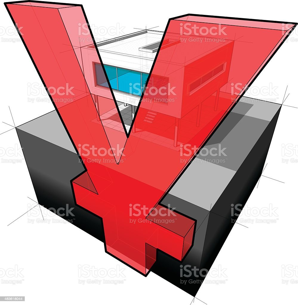 modern house and YEN/YUAN sign vector art illustration