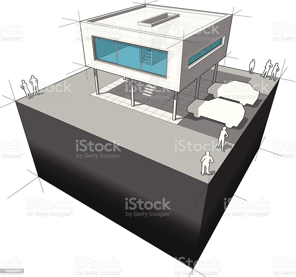 modern house diagram vector art illustration