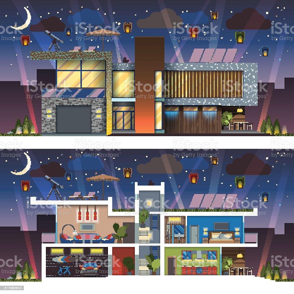 Modern house facade section night vector art illustration