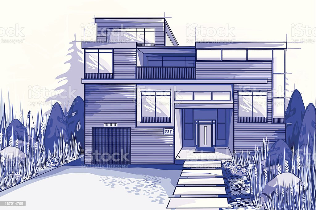 Modern house in blue colors royalty-free stock vector art