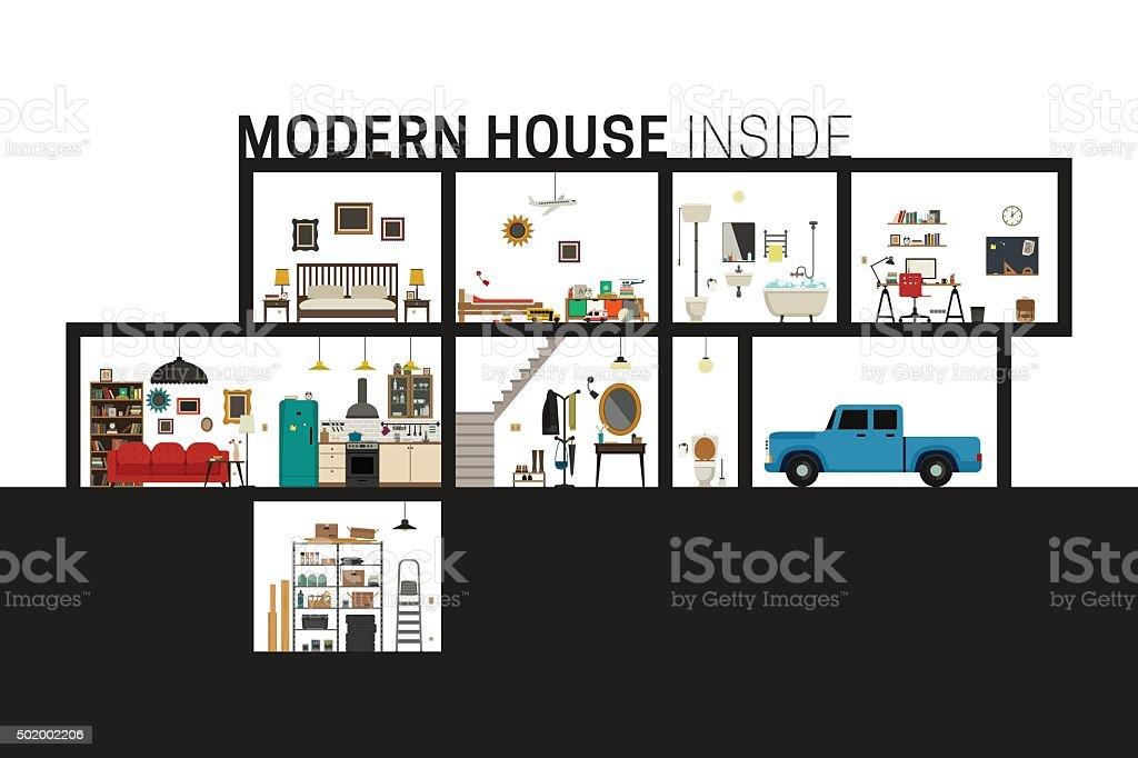 Modern house in cut. vector art illustration