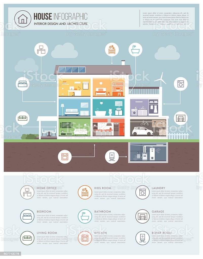 Modern house infographic vector art illustration