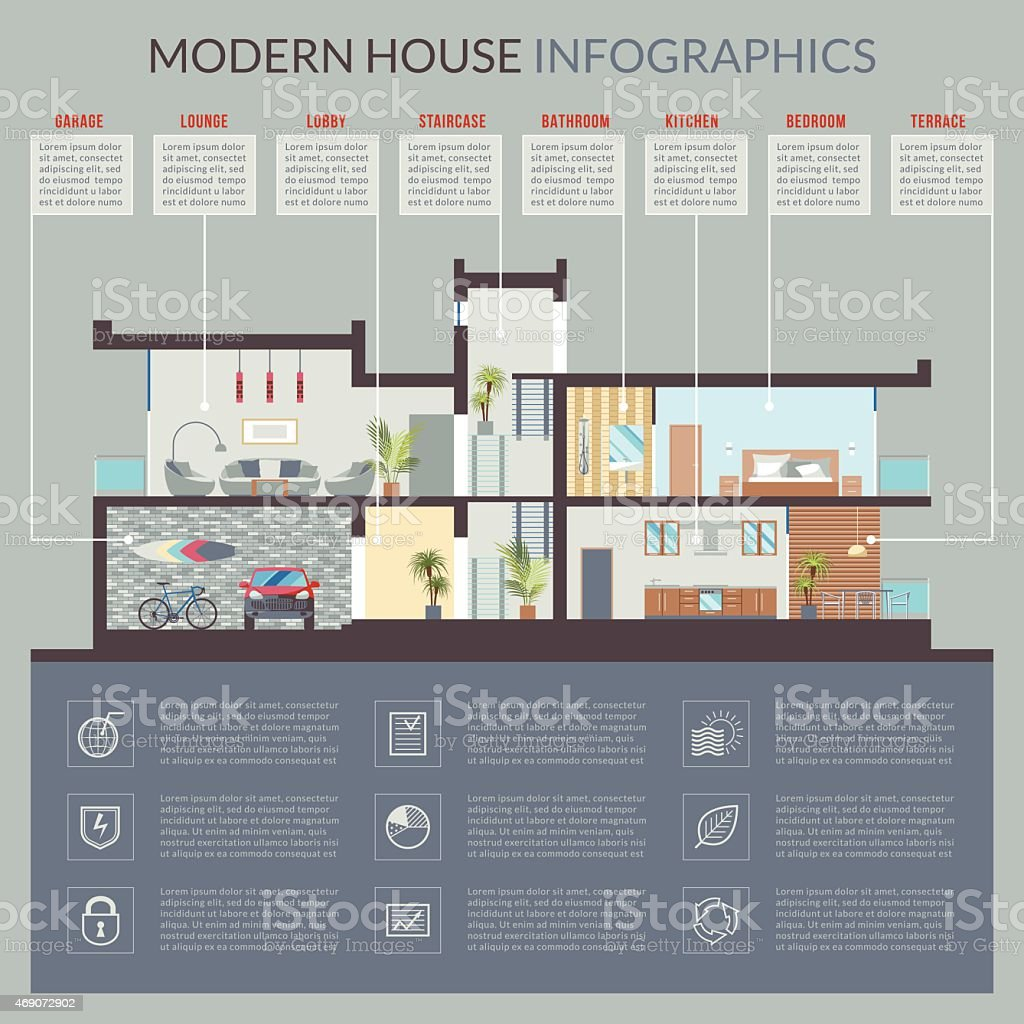 Modern house infographics vector art illustration