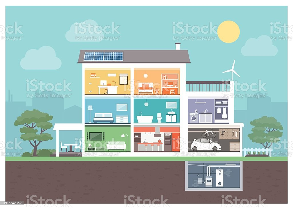 Modern house section vector art illustration