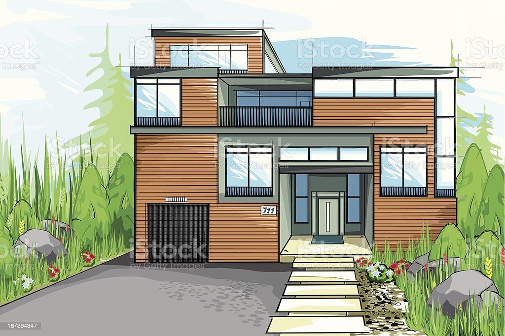 Modern house. vector art illustration