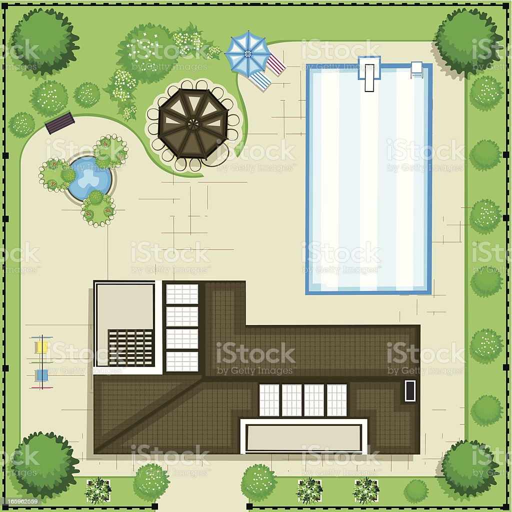 Modern house with pool and garden. Top view vector art illustration