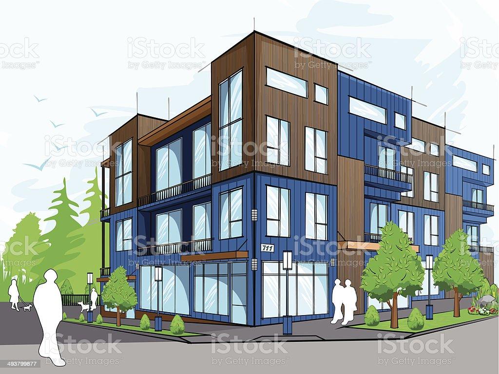 Modern houses vector art illustration