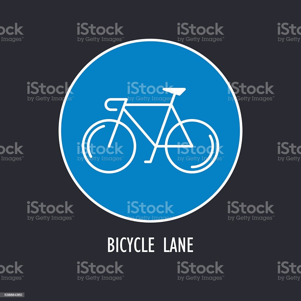 Modern Illustration of Bicycles Only Road Sign vector art illustration