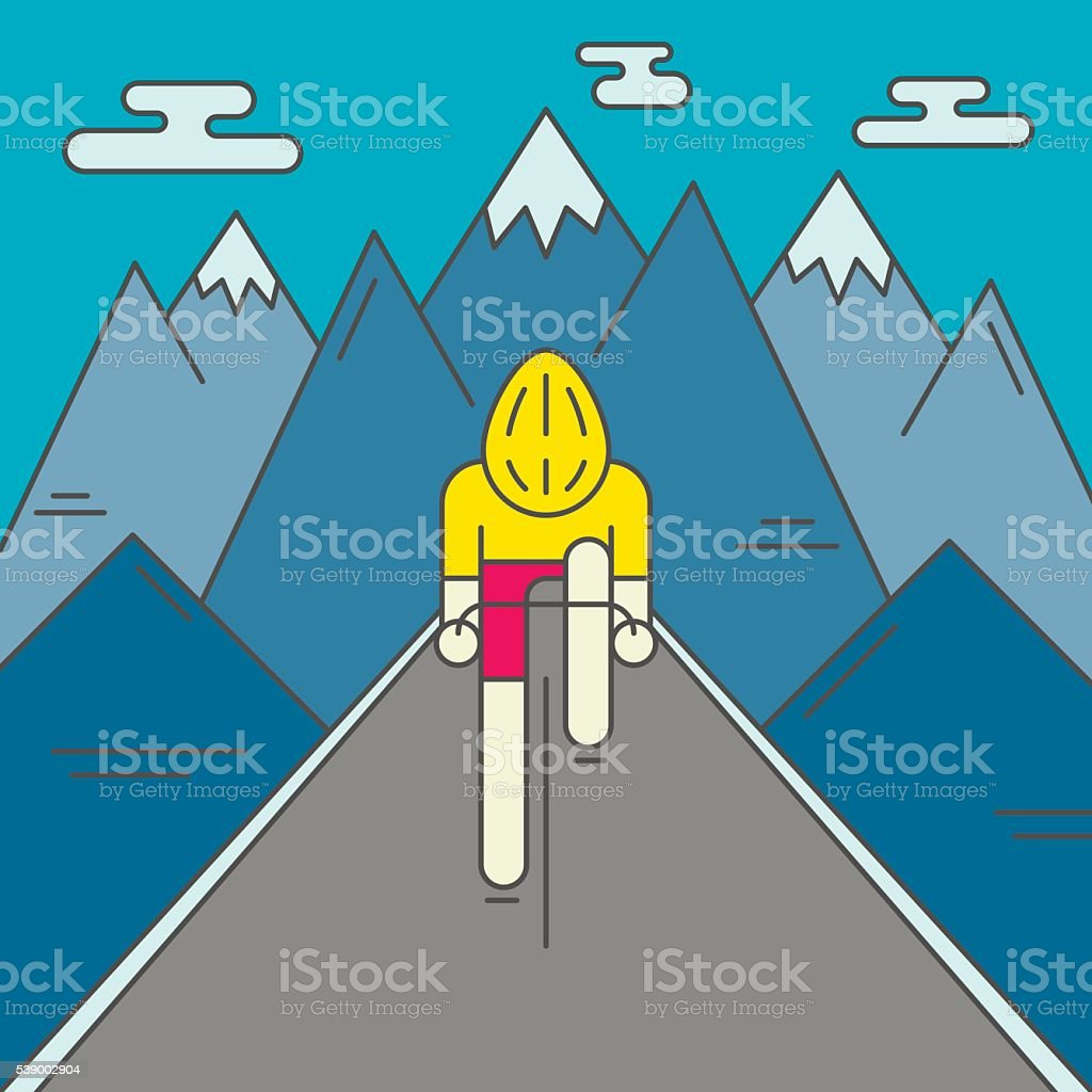 Modern Illustration of cyclist on the road vector art illustration
