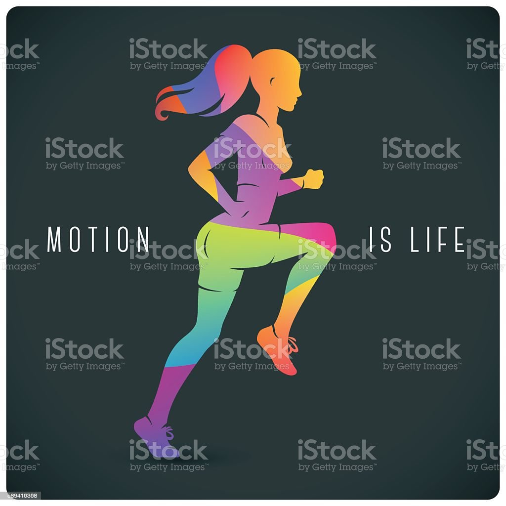 Modern illustration with running woman and motivating quote vector art illustration
