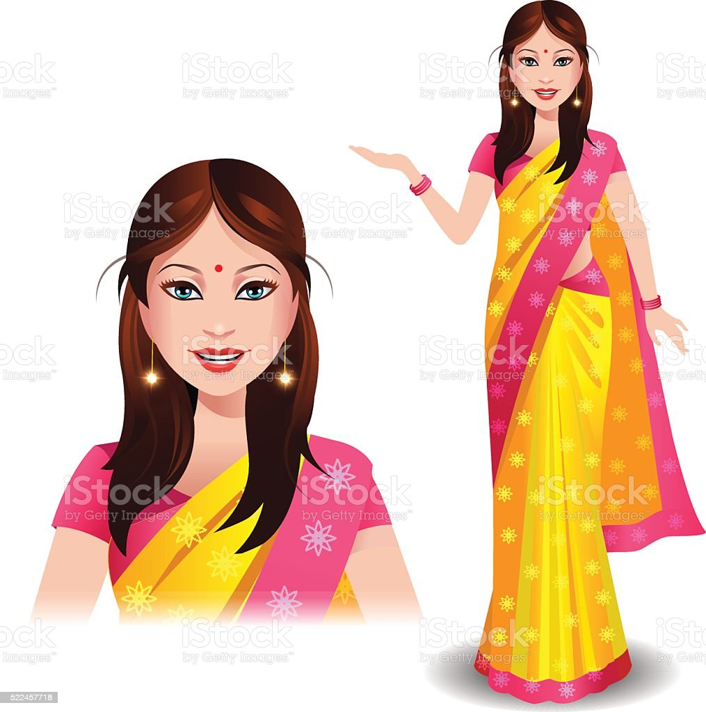 Modern Indian woman in a beautiful traditional saree vector art illustration