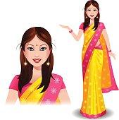 Modern Indian woman in a beautiful traditional saree