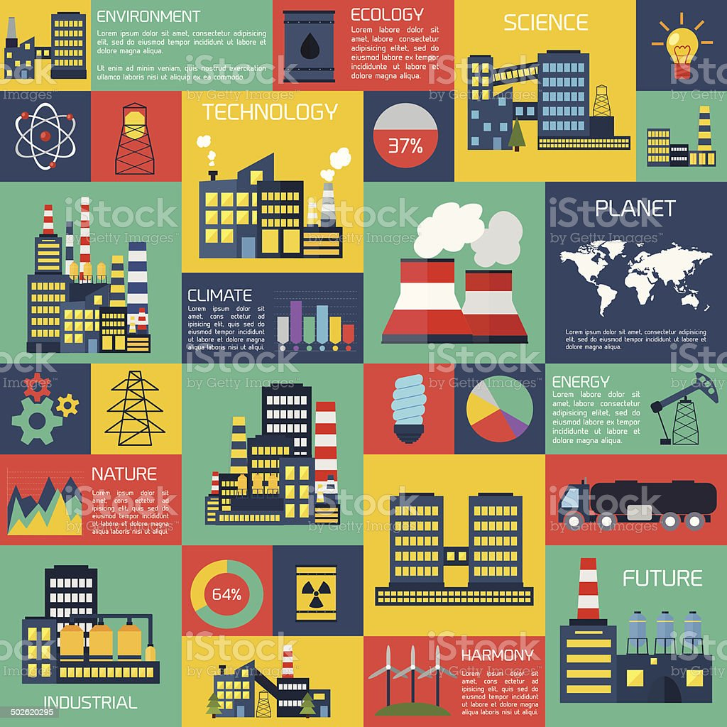 Modern industrial flat infographic background. vector art illustration