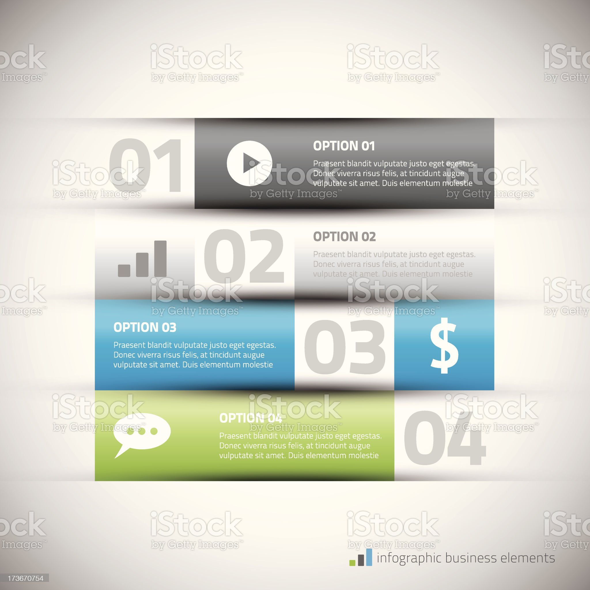 Modern infographic elements with sample text vector illustration royalty-free stock vector art