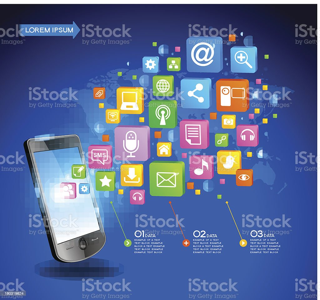 modern infographics network with a mobile phone royalty-free stock vector art