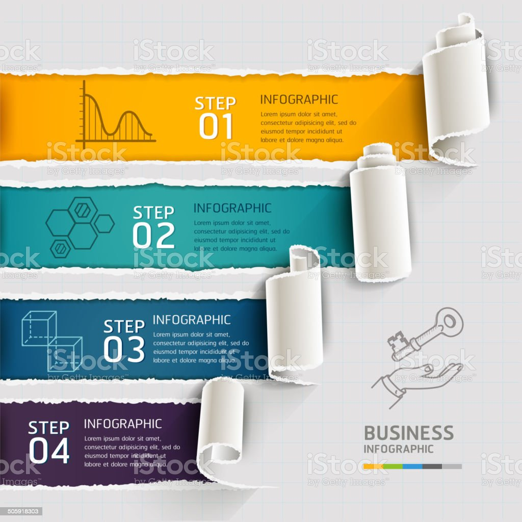 Modern infographics template torn paper style. vector art illustration
