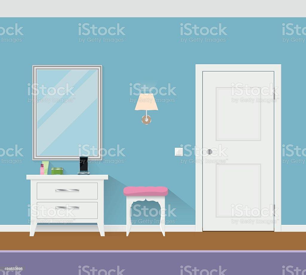 Modern interior hallway with door, mirror and pouf. vector art illustration