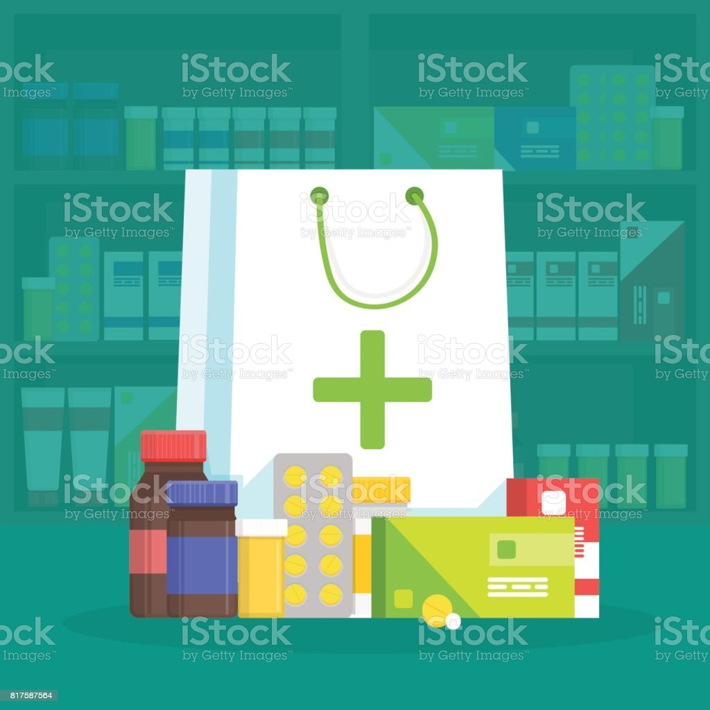 Modern interior pharmacy and drugstore. Sale of vitamins and medications. Shopping bag with different medical pills and bottles. Vector simple illustration vector art illustration