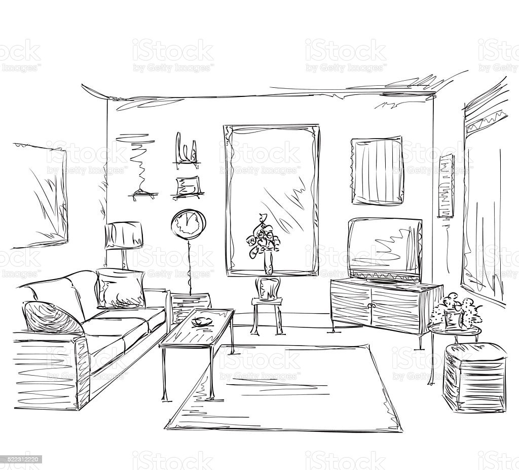 Modern interior room sketch hand drawn furniture stock for Dessin architecture interieur