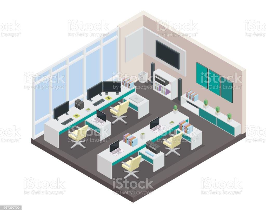 현대 아이소메트릭 사무실 인테리어 디자인 일러스트 697350700  iStock