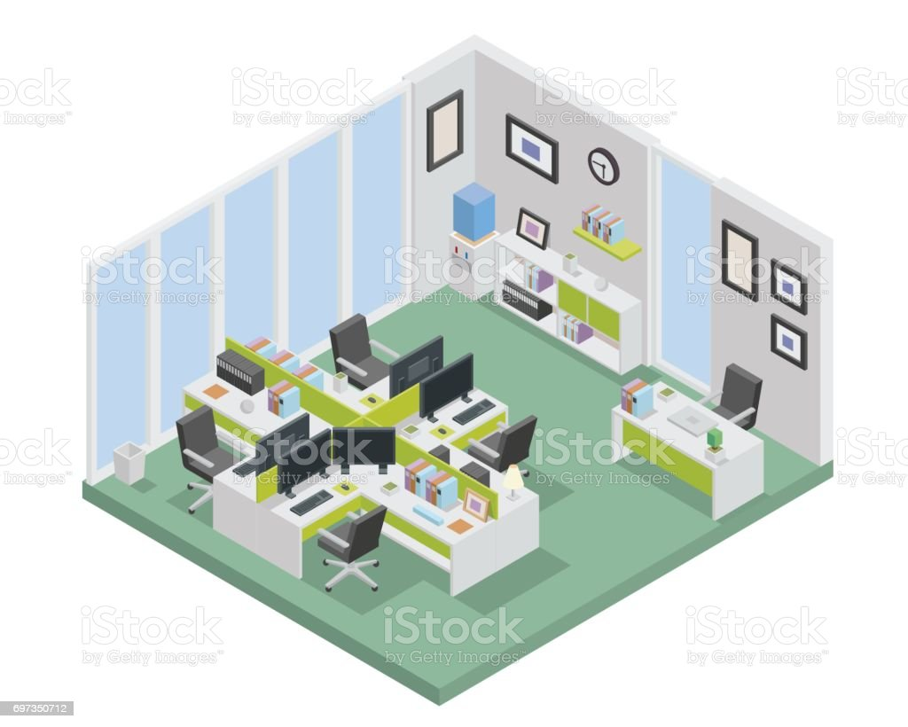 Modern Isometric Office Interior Design vector art illustration