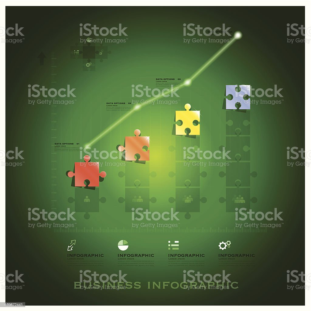 Modern Jigsaw Puzzle Business Infographic Background Design Template royalty-free stock vector art