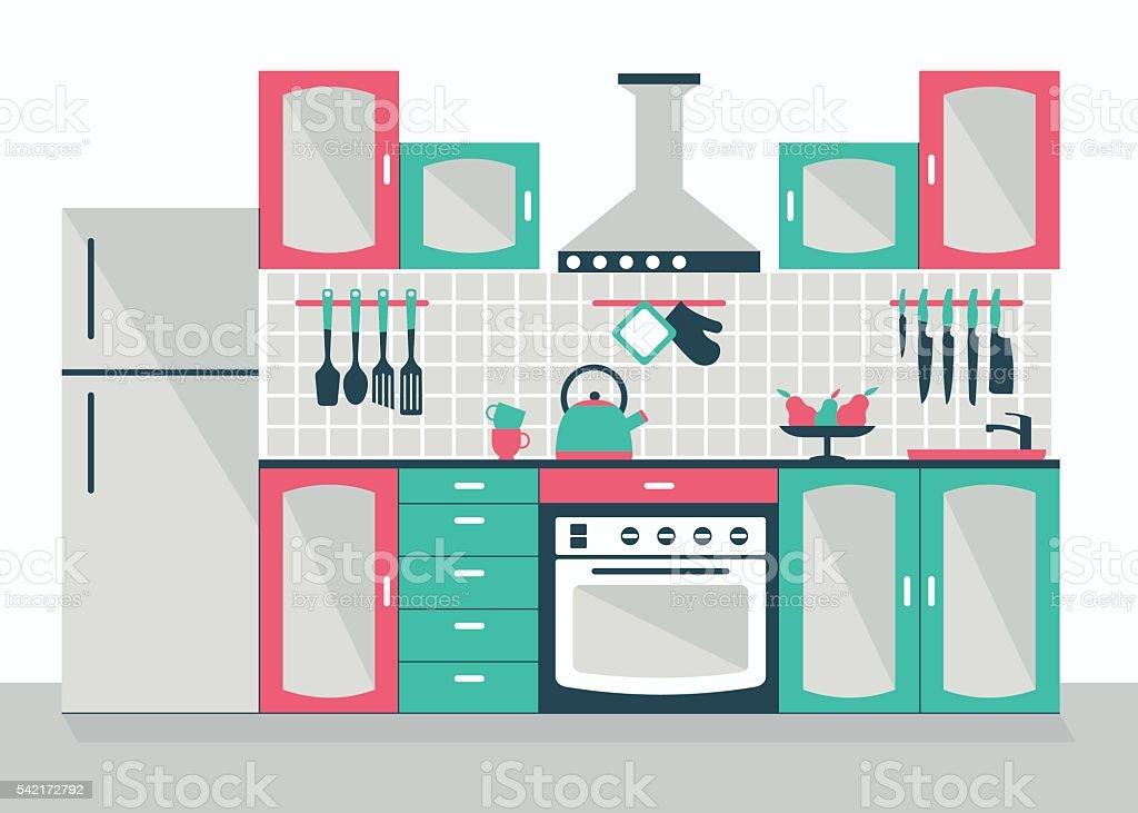 modern kitchen interior vector art illustration