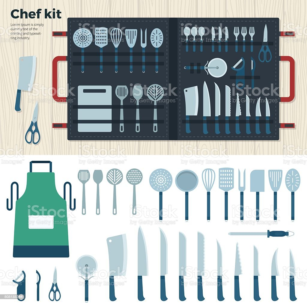 Modern Kitchen Tools for Cooking. Chef Kit vector art illustration