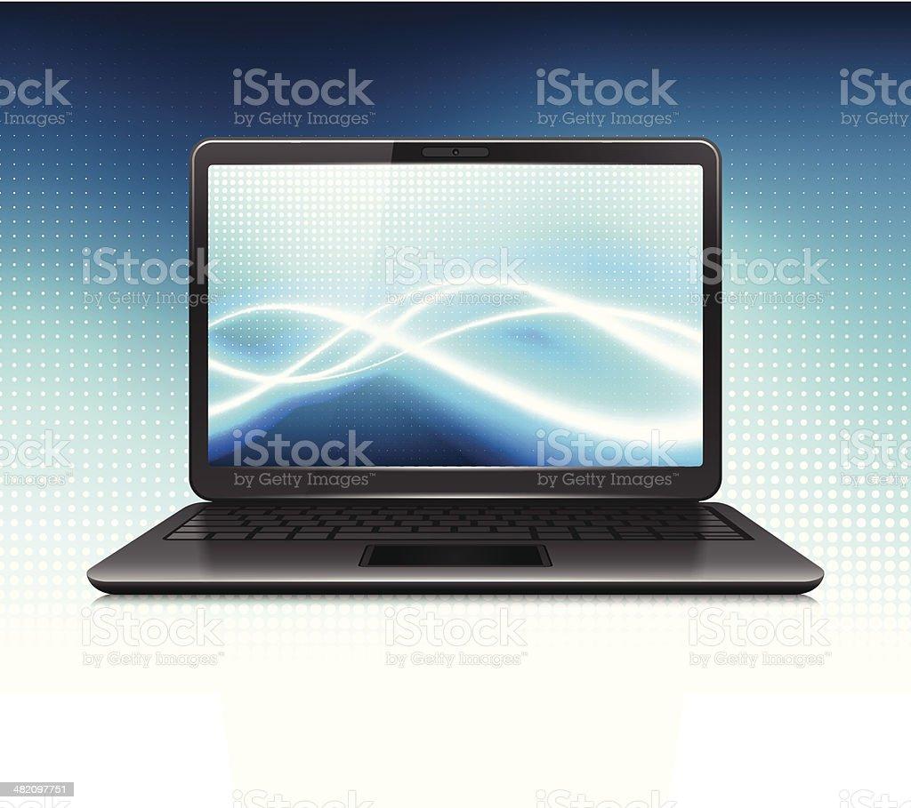 Modern Laptop on Internet Communications Background royalty-free stock vector art