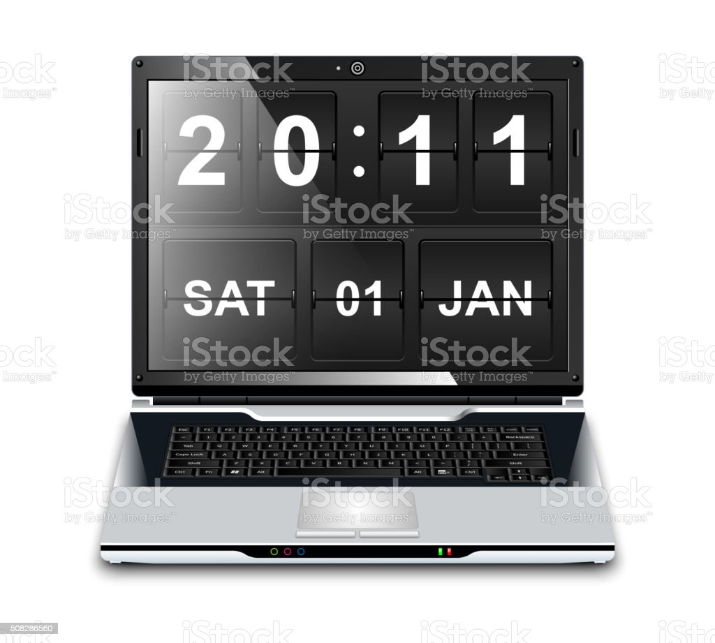Modern Laptop with Flip Clock Screensaver vector art illustration